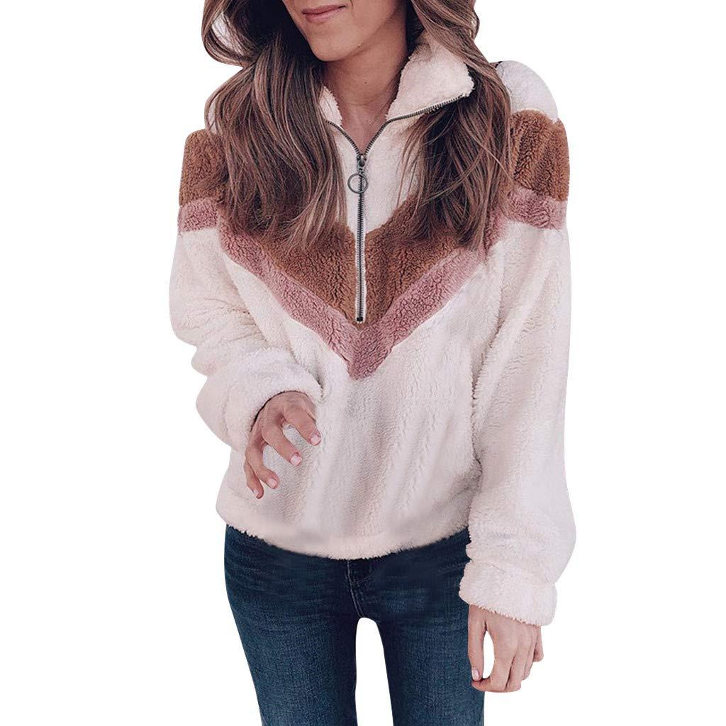 Women Patchwork Half Zipper Flannel Long Sleeve Long Sleeves Sweatshirt Warm Fuzzy Fleece Pullover by HNTDG by HNTDG