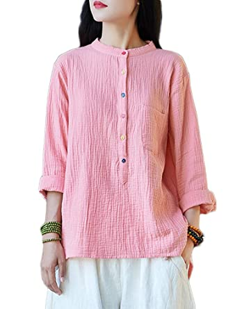 359415a6a178 Mordenmiss Women's Half Button Down Cotton Linen Shirt Spring/Fall Clothing  (L, Pink) at Amazon Women's Clothing store: