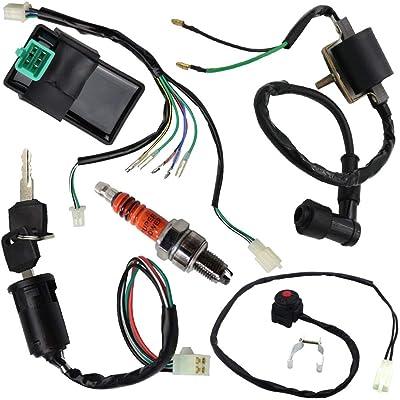 Wire Harness Wiring Loom CDI Ignition Coil Kill Switch Spark Plug Rebuild Kit for 125CC 110CC 90CC 70CC 50CC ATV Go Kart Kick Start Dirt Bike Pit Bike Quad Bike by TOPEMAI: Automotive