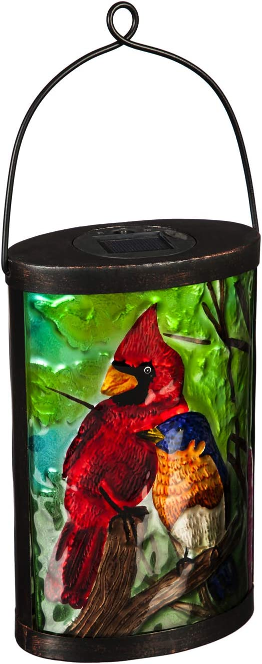 Evergreen Garden Beautiful Summer Cardinal and Blue Bird Painted Solar Lantern - 6 x 4 x 9 Inches Fade and Weather Resistant Outdoor Decoration for Homes, Yards and Gardens