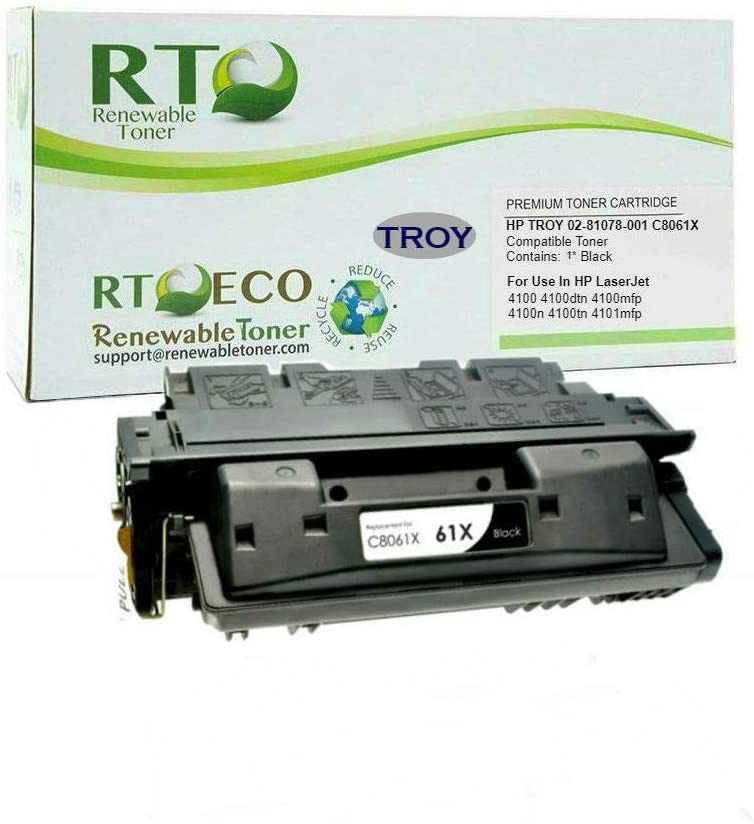 Renewable Toner Compatible MICR Cartridge Replacement for Troy 02-81078-001 HP C8061X 61X Laserjet 4100