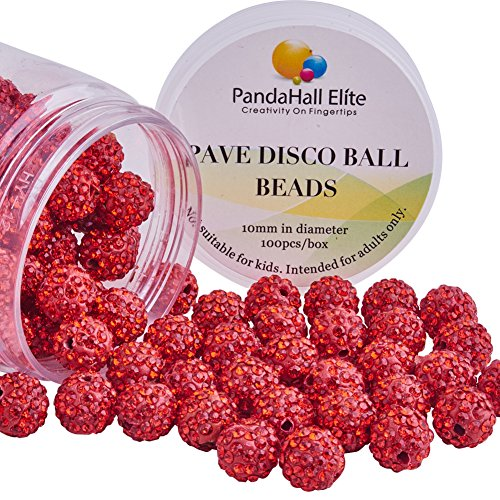 PandaHall 100pcs Rhinestones Shamballa Bracelet