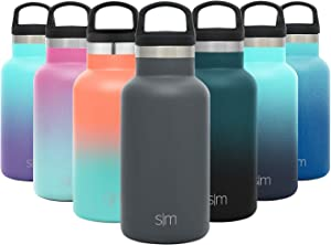 Simple Modern 12oz Ascent Water Bottle - Stainless Steel Hydro w/Handle Lid - Gray Double Wall Tumbler Flask Vacuum Insulated Small Reusable Metal Leakproof Kids -Graphite