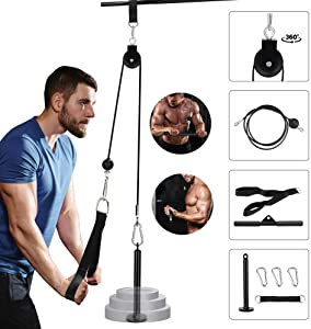 Fitness LAT and Lift Pulley System, Home Gym Equipment Pulley Cable Machine Attachements for Lat Pulldown Machine with Loading Pin, Straight Bar for Triceps Pull Down, Biceps Curl, Back, Shoulder