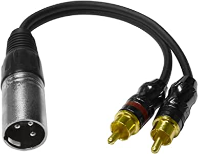 Seismic Audio - SA-Y6 - 6 Inch Splitter Patch Y Cable - 1 XLR Male to 2 RCA Male