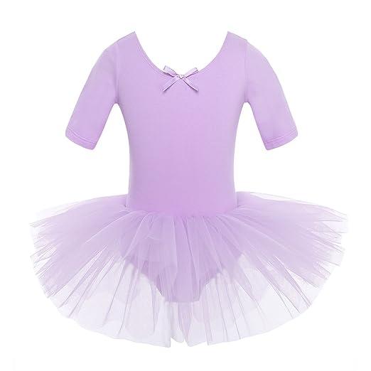 iEFiEL Mädchen Ballettkleid, Kinder Ballettanzug Tütü Ballett Trikot Turnanzug Kurzarm Ballettkleid mit Röckchen