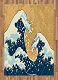 Japanese Wave Area Rug by Ambesonne, Sea Storm in Japan Traditional Drawing Foamy Great Waves, Flat Woven Accent Rug for Living Room Bedroom Dining Room, 5.2 x 7.5 FT, Earth Yellow Dark Blue White
