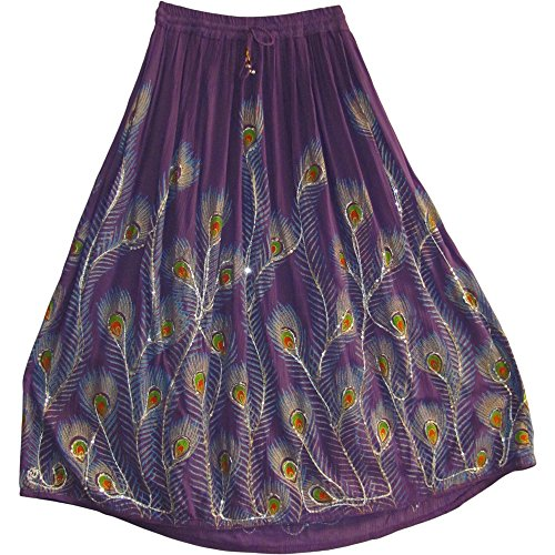 Women's Indian Sequin Crinkle Broomstick Gypsy Peacock Long Skirt (Purple)