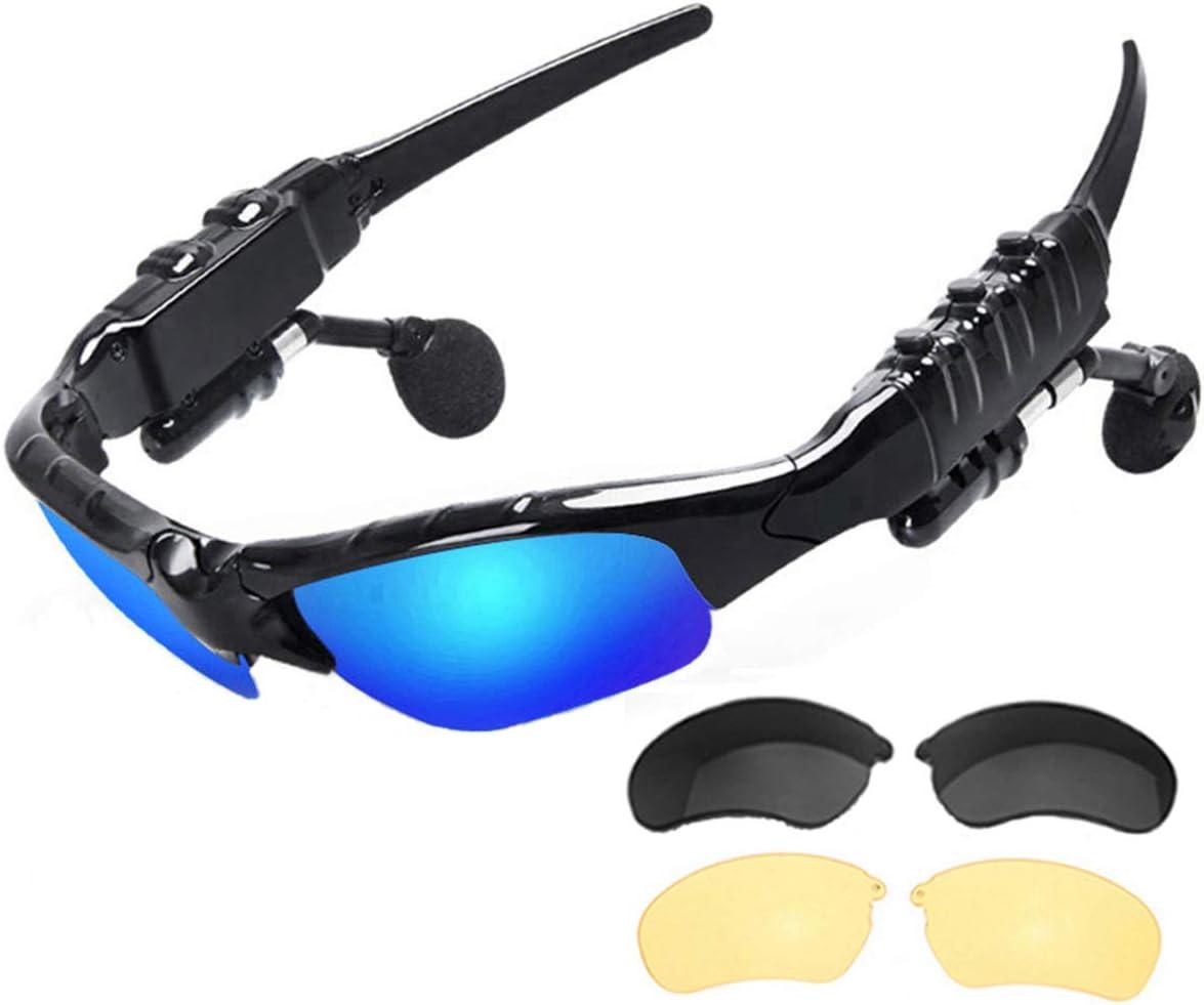 NewZexi Auriculares Bluetooth Gafas de Sol Música Estéreo Gafas Deportivas Manos libres Gafas de Conducción Gafas de Sol de Ciclismo con Reemplazable Lentes Polarizadas Lentes Visión Nocturna