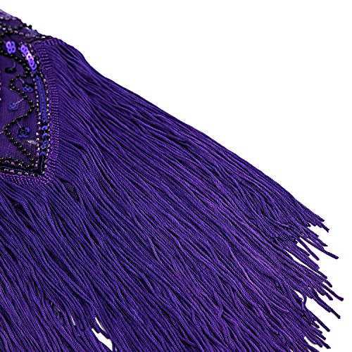 Violet 1920s Fringed Metme V Prom Gatsby Women's Dress Beaded Neck Theme Flapper for Zwa7Hw