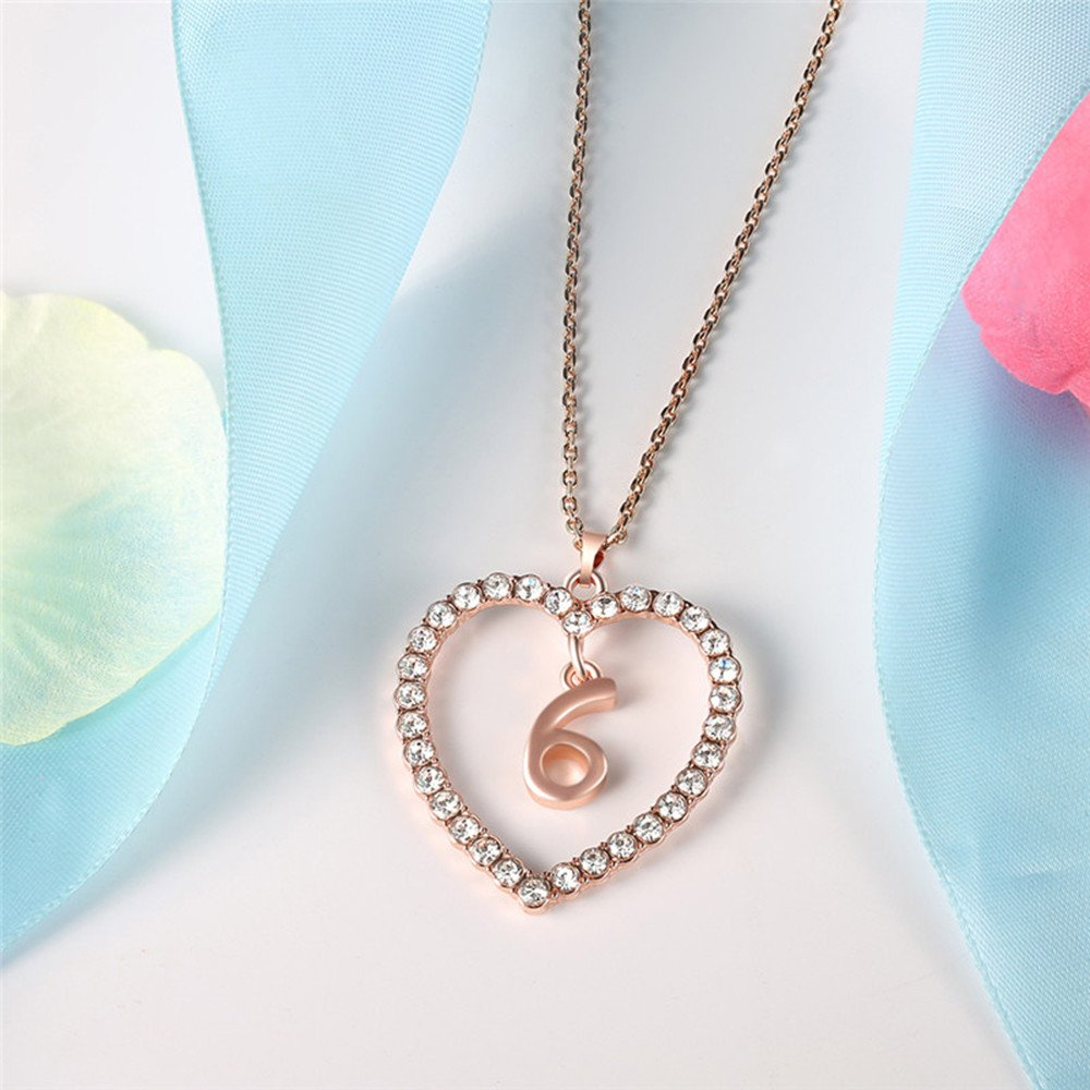 Womens Lucky Number Necklace 0-9 Zircon Love Heart Necklace Jewelry Love Pendants