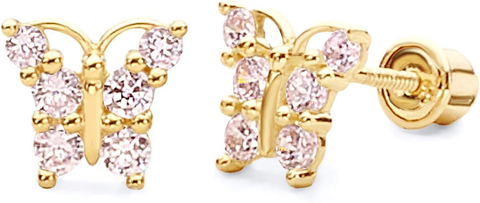 Wellingsale 14K Yellow Gold Polished Butterfly Stud Earrings With Screw Back