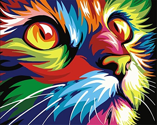 Colorful Cat (Paint by Number Kits, Komidea DIY Oil Painting Paint by Numbers for Adults Kids Beginner with  Canvas Brush - Colorful Cat 16x20inch)