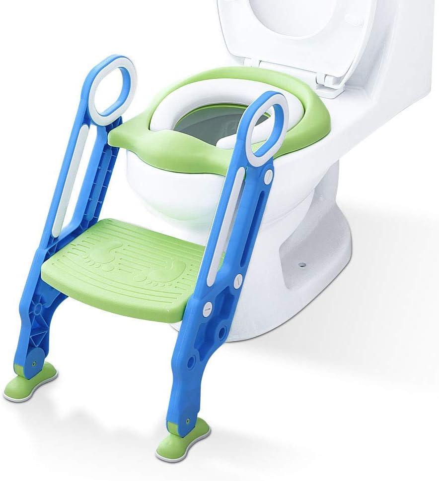 ADOVEL Reductor WC niños Aseo Asiento con Escalera, Orinales para niños Asiento para inodoro de bebe Orinal infantil Formación, Antideslizante, Plegable, Altura Ajustable para 1-7 niños - Verde