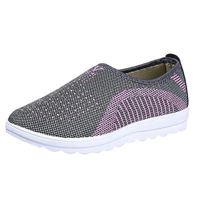 de91ddc53ec BaZhaHei Men Women Casual Flat Breathable Walking Stripe Sneakers Soft Non-Slip  Shoes Round Toe