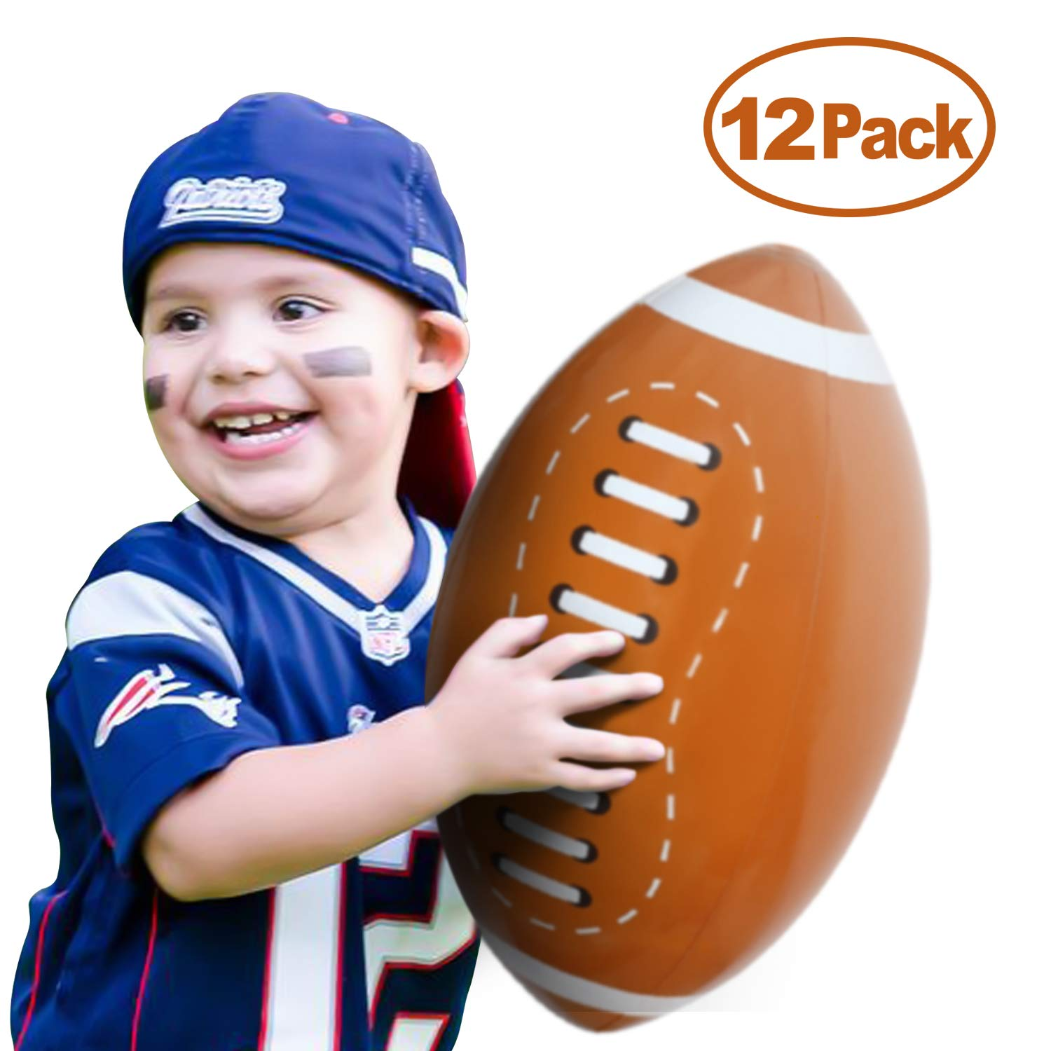 Novelty Place Giant Inflatable Football Set, Beach Balls 16 Inches for Kids (Pack of 12) by Novelty Place