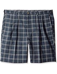 Men's Big & Tall Cool 18 Expandable-Waistband Woven Plaid Short