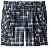 Haggar Men's Big-Tall Cool 18 Expandable Waistband Woven Plaid Pleat Front Short, Navy, 46W