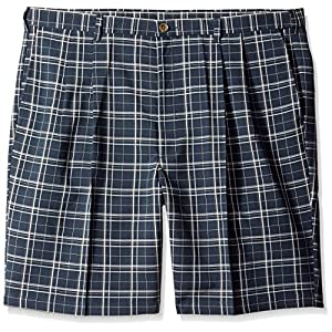 Haggar Men's Big & Tall Cool 18 Expandable-Waistband Woven Plaid Short