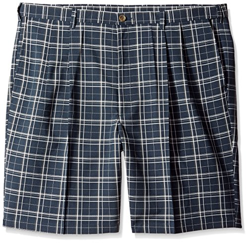 Haggar Men's Big-Tall Cool 18 Expandable Waistband Woven Plaid Pleat Front Short, Navy, 44W by Haggar