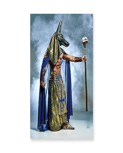Arte de pared egipcio Lunarable, antiguo faraón egipcio con una máscara de Anubis Foggy fondo