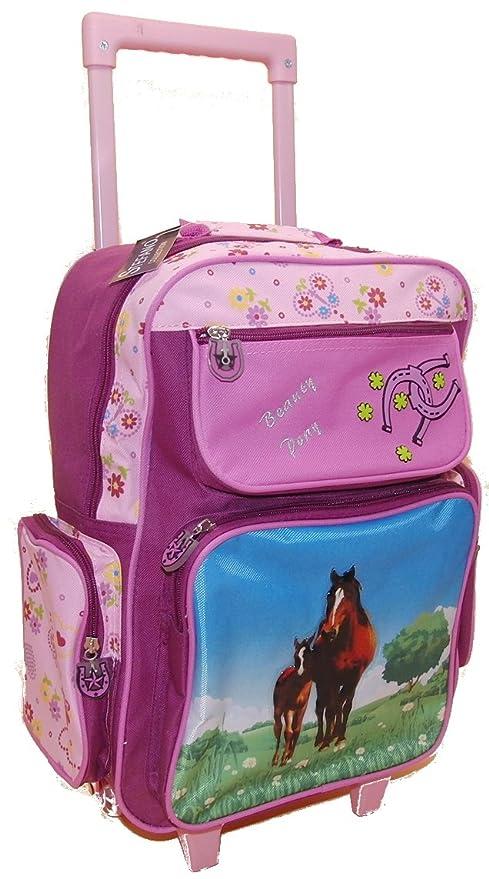 Con ruedas de alta calidad - 5 bolsillos - caballos/Pony LILA - para niños - de mano - maleta con ...