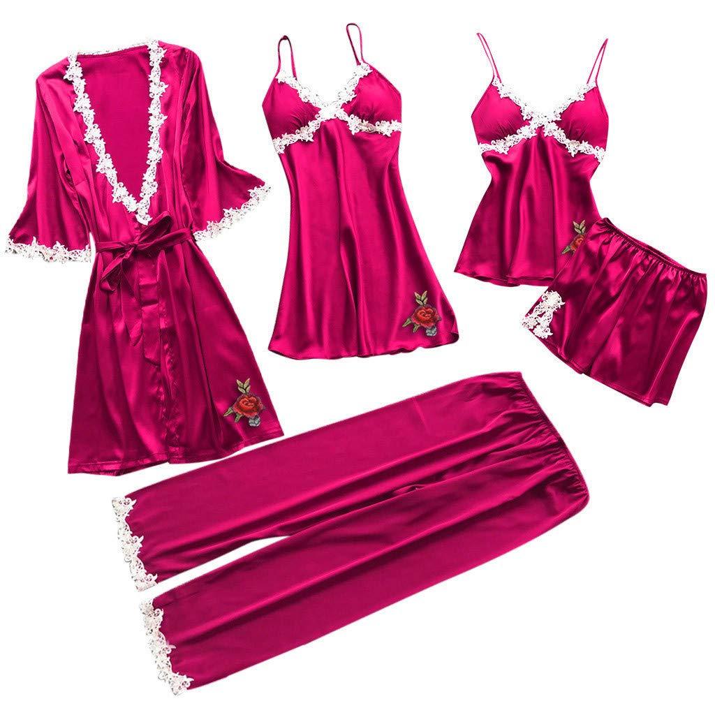 Womens Satin Pajamas Lace Trim Roomwear Two Piece Set Kimono Robe Long 5 Set