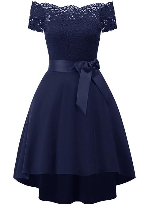 57fccbf10814 vestito abito cerimonia da donna damigella scollo a barchetta orlo  asimmetrico