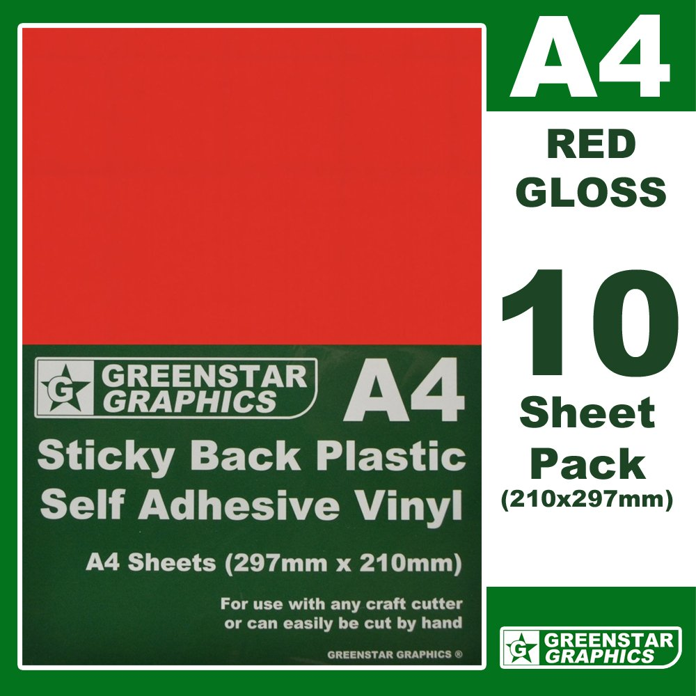 10 SHEET PACK - A4 STICKY BACK PLASTIC CRAFT VINYL (self adhesive vinyl) Ideal for hobbies and crafts. MANY COLOURS AVAILABLE. Easy to cut by hand or use with any craft cutter. Suitable for Silhoutte cameo / curio / portrait craft cutters / scan n cut / cr