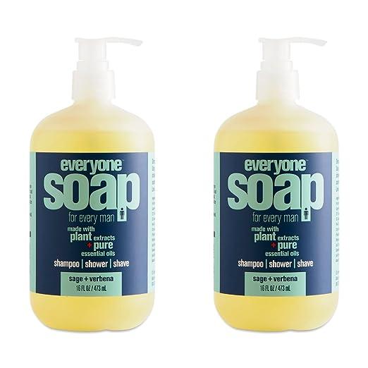 Everyone Sage & Verbana Men's Soap (Pack of 2) with Matricaria Flower Extract, Aloe Vera Leaf, Marigold Flower Extract, Tea Shrub Leaf Extract and Orange Peel Oil, 16 fl. oz.