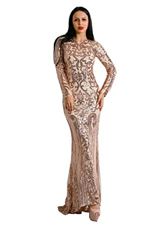 0cb5344b4e0 Miss ord Missord Women Fashion O neck Long Sleeve Bodycon Sequin Retro Party  Maxi Dress Gold
