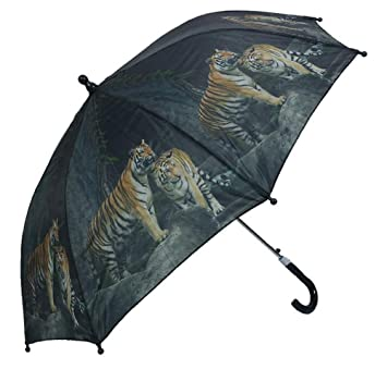 Niños automático Stock pantalla diseño animales, Tiger Paraguas