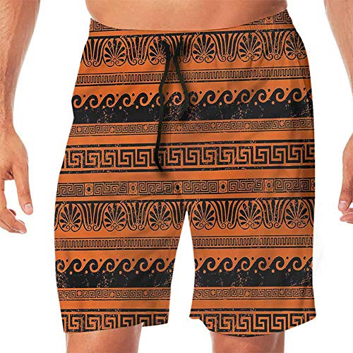 ScottDecor Quick-Dry Beach Mens Shorts Toga Party,Old Border Ornaments Shorts for Teen ()