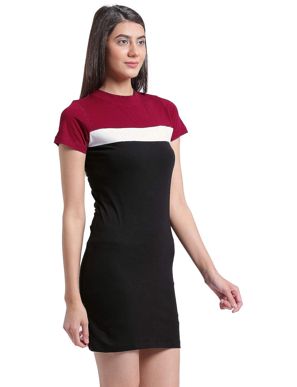 e67d3abde9a Rigo Maroon and Black Bodycon Dress for Women  Amazon.in  Clothing    Accessories