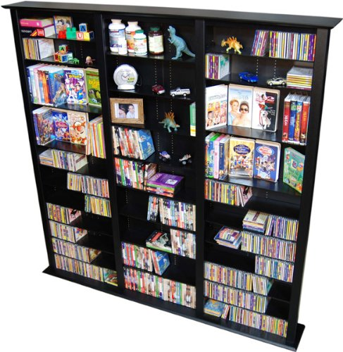 Spartak Bookcase Multimedia Tower - Tall Triple 2413BLACK (Black) (76