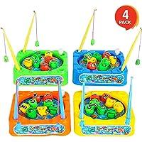 Gamie Juego de Juegos de Pesca para niños (Paquete de 4) Cada Juego Giratorio Incluye 8 Peces de Juguete y 2 Varillas, Gran Regalo de Fiesta/Carnaval para niños pequeños y niñas