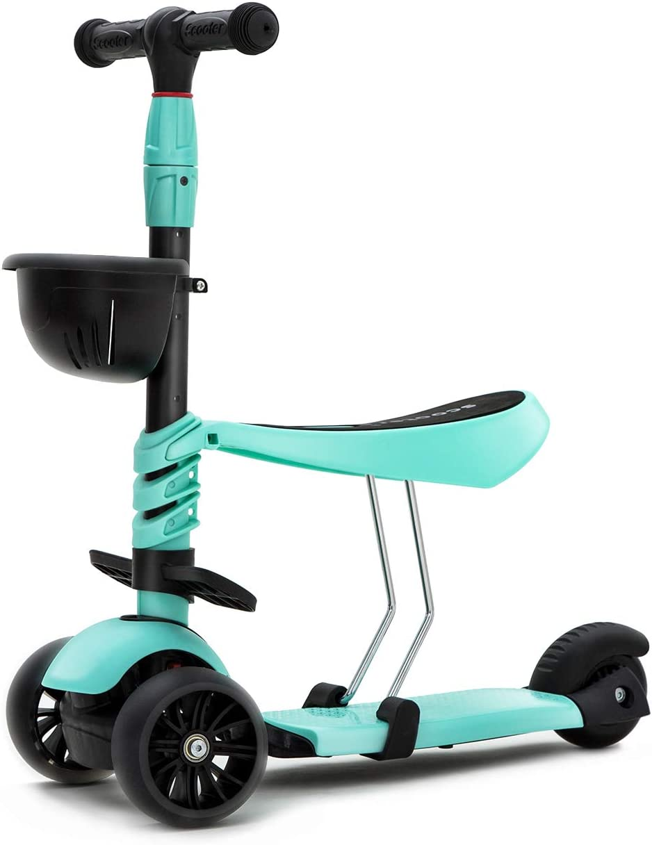 KAMURES 3-in-1 3 Wheels Kick Scooter with Removable Seat for Kids Toddlers, 5 Adjustable Height Kids Scooter with Extra-Wide PU Flashing Wheels, Birthday Gift for Baby Boys Girls Age 2-8 Green