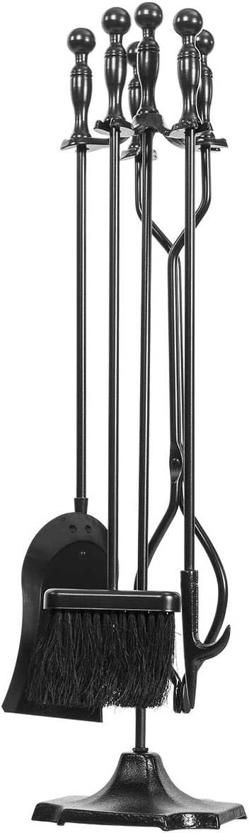"Barton 5-Pieces Rustic Fireplace Tools Set 31"" Firepit Fire Place Wrought Iron Poker Wood Stove Log Tongs Holder Hearth Decoration Accessories"