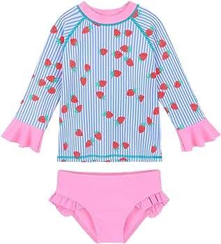 Long Sleeve One Piece Swimwear 4-11Y TFJH E Kids Girls Rashguard Swimsuit UV 50