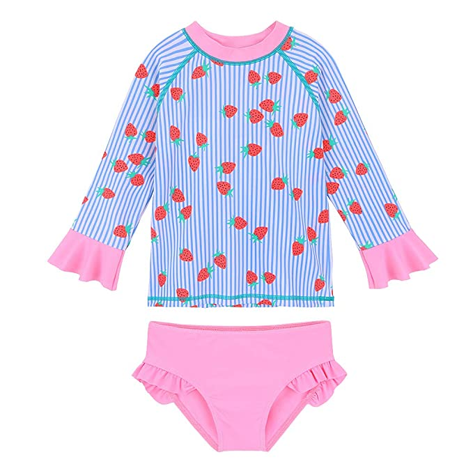 93f41313ba623 TFJH E Swimsuits for Girls Long Sleeve Rash Guard Suit Bikini Set 2-Pieces  Blue