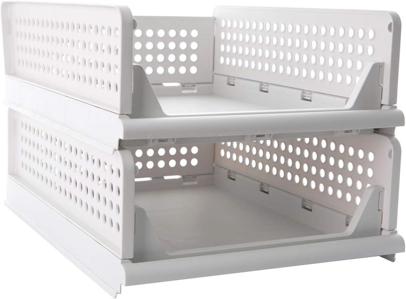 Pinkpum Stackable Plastic Storage Basket-Foldable Closet Organizers Storage Bins 2 Pack-Drawer Shelf Storage Container for Wardrobe Cupboard Kitchen Bathroom Office (2S)