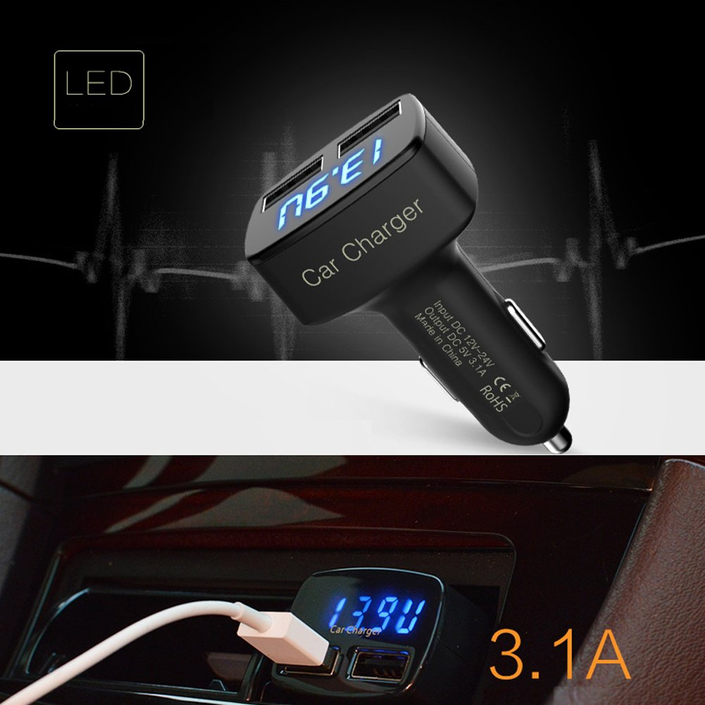 3.1A Dual USB Car Charger Cigarette Lighter with Blue LED Display Displays Voltage Compatible with iPhone iPad Samsung Most Android/Windows Smart Cell Phones GPS Tablets, and Other USB-charged Devices
