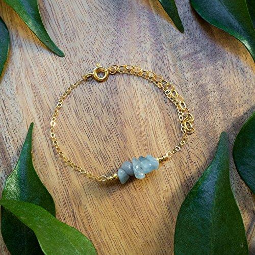 - Aquamarine bead bar crystal bracelet in 14k gold fill - 6