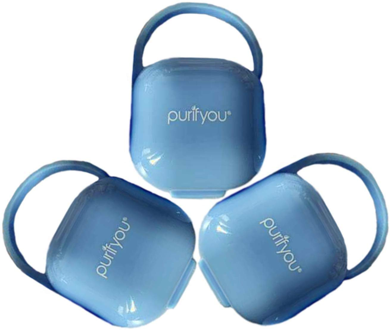purifyou PurePouch BPA-Free Nipple Shield Case & Pacifier Case, Set of 3, with Free Mesh Sack (Set of 3, Baby Blue)