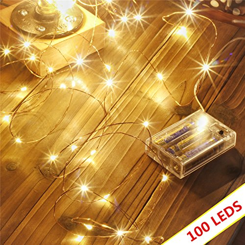 Makion Led Wire String Lights 100leds/10m Decorative Fairy Battery Powered String Lights, Copper Wire light for Bedroom,Wedding(33ft/10m Warm White)