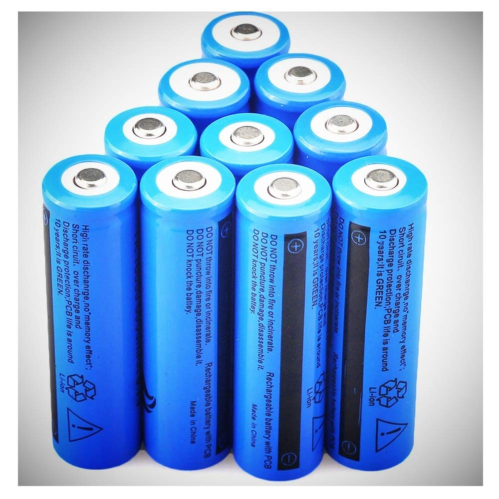 Batteries 10 pcs Button top Rechargeable Battery 18650 3.7V 5000mAh Li-ion High-Capacity for Flashlight Torch