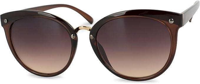 styleBREAKER: lunettes de soleil yeux de chat avec monture en différentes matières et clous, femmes 09020071, couleur:Monture marron / verre dégradé marron