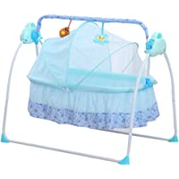 Electric Baby Bassinet Cradle Auto-Swing Bed with Music Function Baby Cradle Space Safe Crib Infant Rocker Cot + Mat With Battery (Blue)