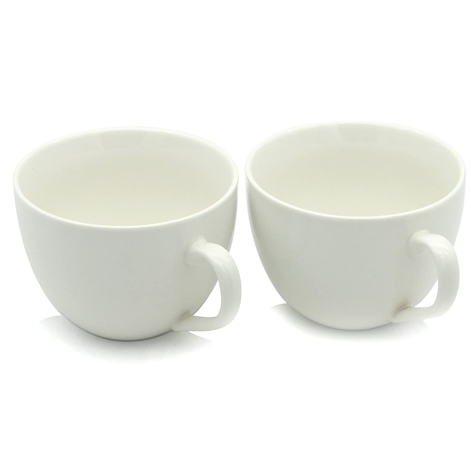 15 oz Jumbo Coffee Mugs, Zocokey M030 Novelty ceramic bowl for Fruit and berries with ice-cream, oatmeal and cereal, Set of 2, White