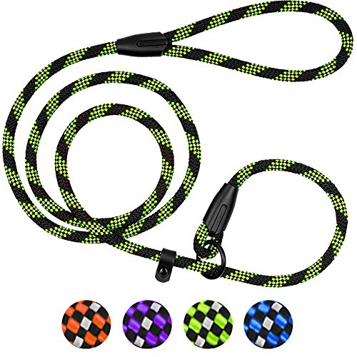 BronzeDog Rope Dog Leash 6ft Mountain Climbing Training Slip Show Lead Braided Reflective Leashes for Small Medium Large Dogs (S/M Slip Show Lead, Green)